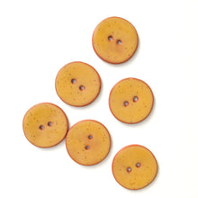 Load image into Gallery viewer, Speckled Mustard Yellow Ceramic Buttons on Terracotta Clay - 1 1/16""