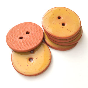 Speckled Mustard Yellow Ceramic Buttons on Terracotta Clay - 1 1/16""