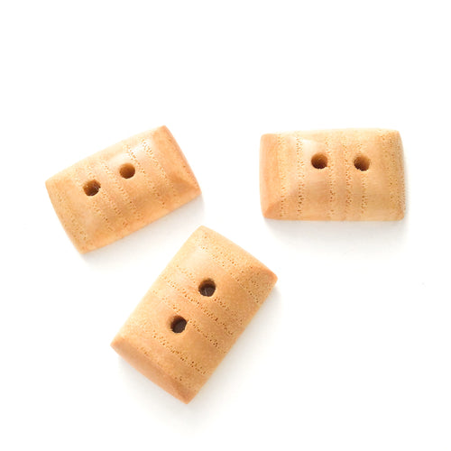 Ash Wood Buttons - Rounded Edge Rectangular Wood Buttons - 3/8