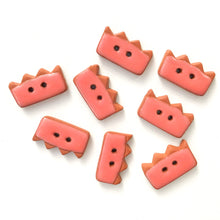 "Load image into Gallery viewer, Salmon Colored Buttons on Red Clay - Ceramic Buttons - 3/8"" x 3/4"" - 8 Pack"