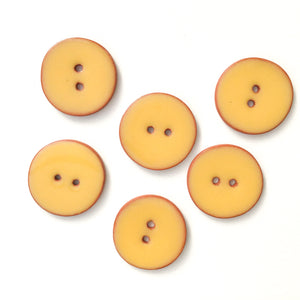 Yellow Ceramic Buttons on Terracotta Clay - 1 1/16""
