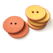 Load image into Gallery viewer, Yellow Ceramic Buttons on Terracotta Clay - 1 1/16""