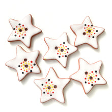 Load image into Gallery viewer, Red & Yellow Color Flare Star Buttons - Ceramic Star Buttons - 1 1/8""