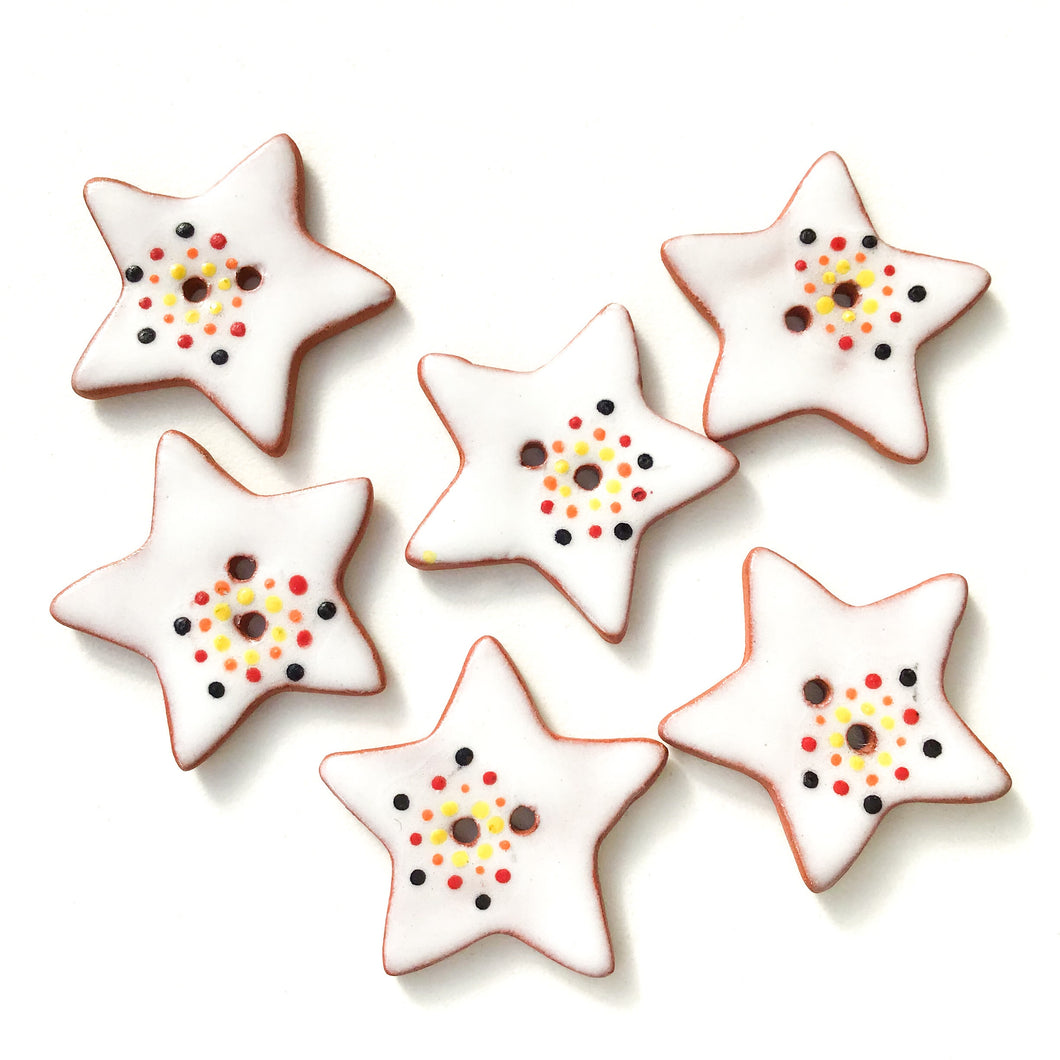 Red & Yellow Color Flare Star Buttons - Ceramic Star Buttons - 1 1/8