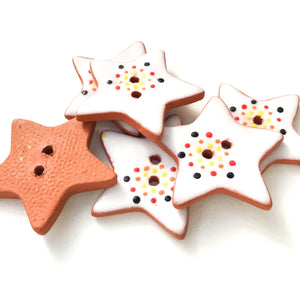 Red & Yellow Color Flare Star Buttons - Ceramic Star Buttons - 1 1/8""