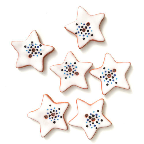Blue Color Flare Star Buttons - Ceramic Star Buttons - 1 1/8