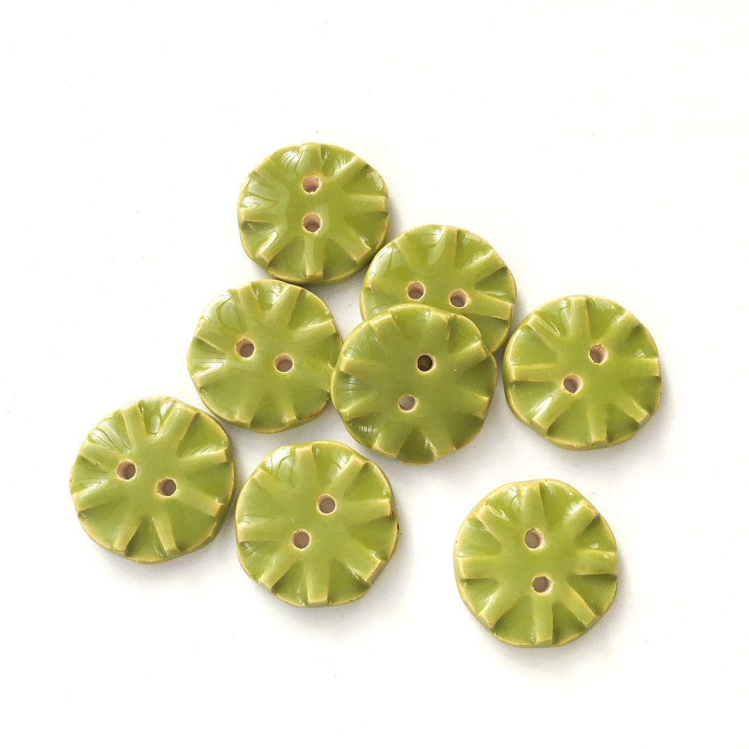 Olive Green Ceramic Buttons - Green Clay Buttons - 3/4