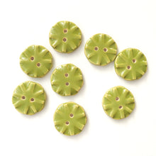 "Load image into Gallery viewer, Olive Green Ceramic Buttons - Green Clay Buttons - 3/4"" -8 Pack"