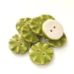 "Olive Green Ceramic Buttons - Green Clay Buttons - 3/4"" -8 Pack"