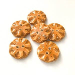 "Speckled Brown Ceramic Buttons - Orange-Brown Clay Buttons - 3/4"" - 6 Pack"