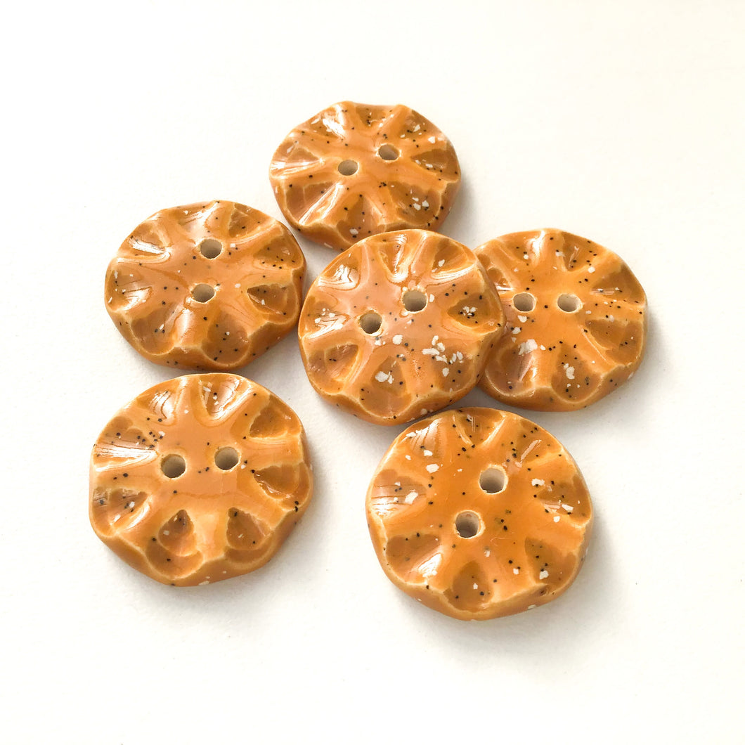 Speckled Brown Ceramic Buttons - Orange-Brown Clay Buttons - 3/4