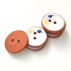 "White Ceramic Buttons with Yellow & Blue Design - 7/8"" - 7 Pack"