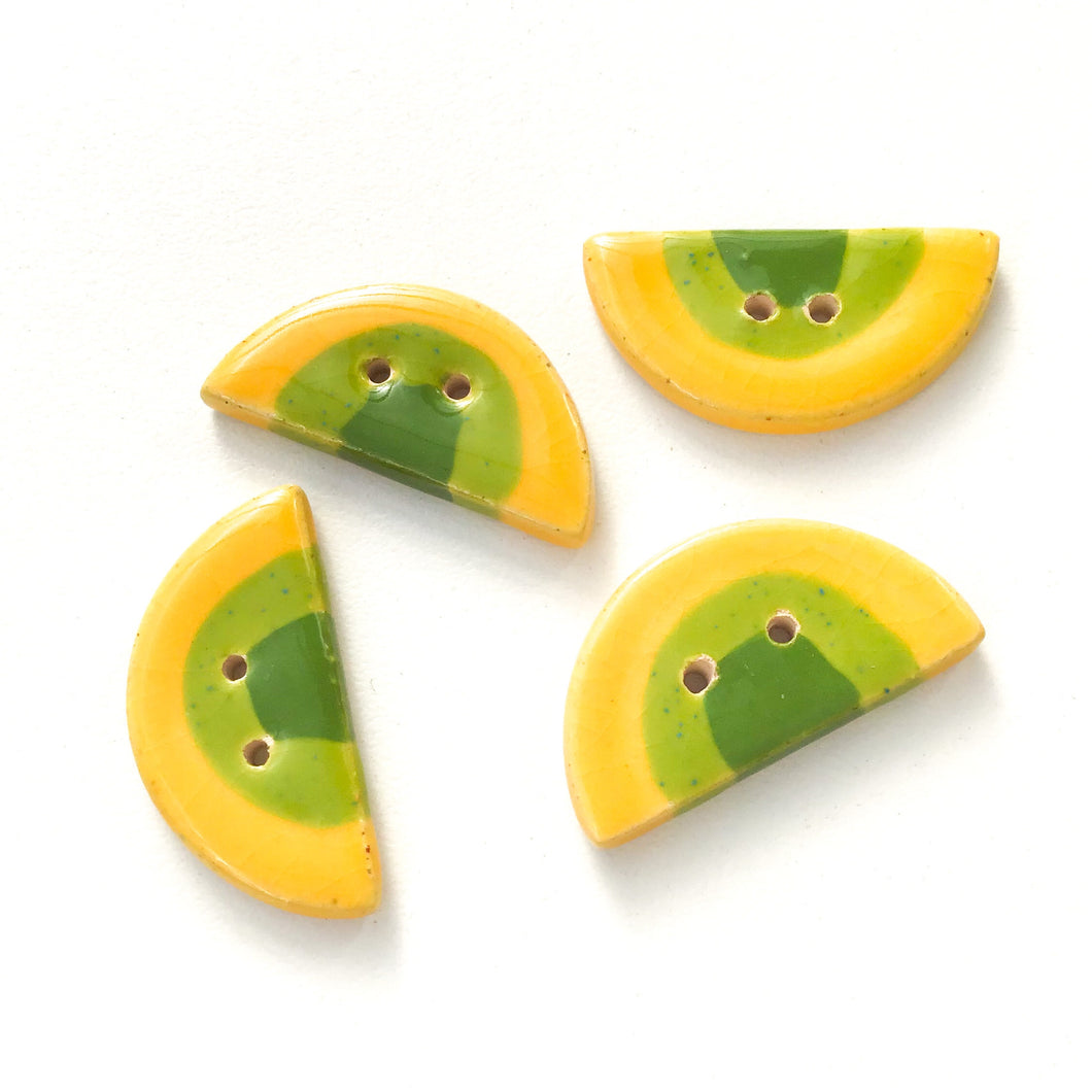 Yellow & Green Half Circle Clay Buttons - Unique Ceramic Buttons - 9/16