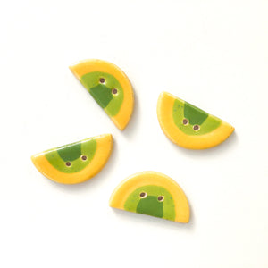 "Yellow & Green Half Circle Clay Buttons - Unique Ceramic Buttons - 9/16"" x 1 1/16"" - 4 Pack"
