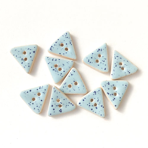Speckled Light Blue Ceramic Buttons - Sky Blue Triangle Clay Buttons - 5/8