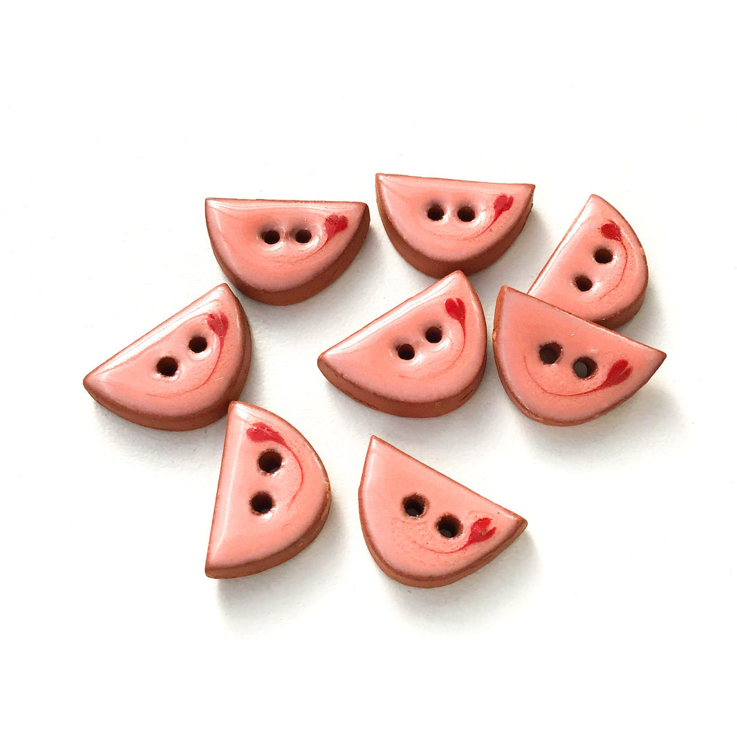 Decorative Pink Ceramic Buttons - Small Half Circle Clay Buttons - 3/8