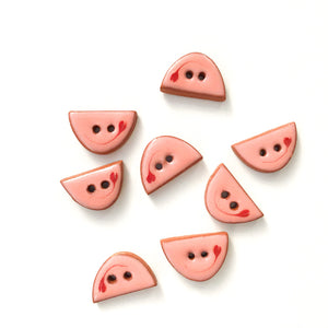 "Decorative Pink Ceramic Buttons - Small Half Circle Clay Buttons - 3/8"" x 5/8"" - 8 Pack"