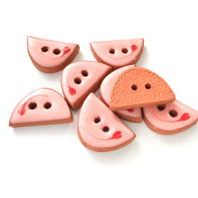 "Load image into Gallery viewer, Decorative Pink Ceramic Buttons - Small Half Circle Clay Buttons - 3/8"" x 5/8"" - 8 Pack"