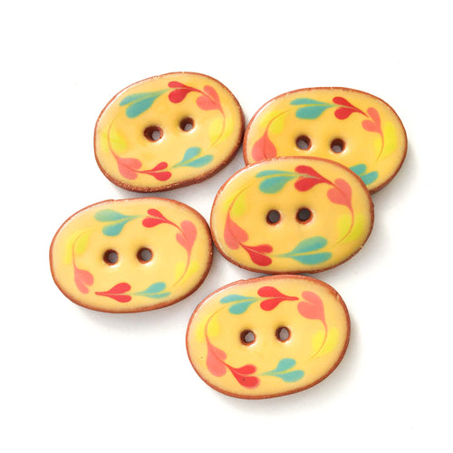 Yellow Ceramic Buttons with Rainbow Wreath - Oval Clay Buttons - 7/8