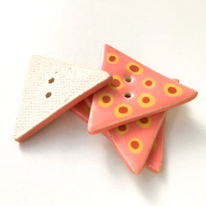 "Triangular Polka Dot Buttons - Coral - Brown - Yellow - 1 1/4"" x 1 3/8"""
