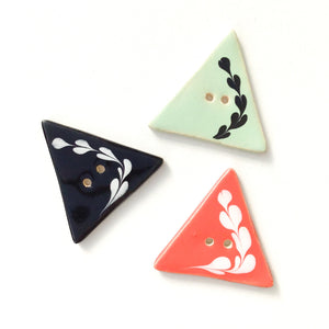 "Triangular Buttons with Floral Vine Design  - Coral - Black - Aqua - 1 1/4"" x 1 3/8"""