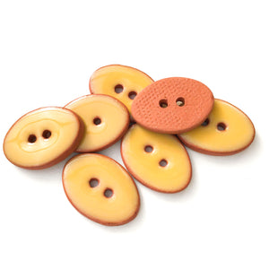 "Golden Yellow Oval Clay Buttons - 5/8"" x 7/8"" - 7 Pack"