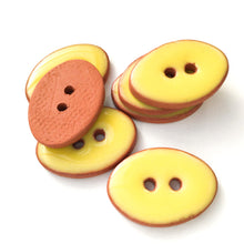 "Load image into Gallery viewer, Bright Yellow Oval Clay Buttons - 5/8"" x 7/8"" - 7 Pack"