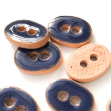 "Load image into Gallery viewer, Navy Blue Ceramic Buttons - Small Oval Ceramic Buttons - 3/8"" x 9/16"" - 9 Pack"
