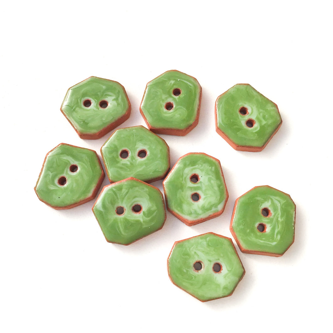 Green Swirls Geometric Ceramic Buttons  - Small Ceramic Buttons - 1/2