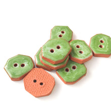 "Load image into Gallery viewer, Green Swirls Geometric Ceramic Buttons  - Small Ceramic Buttons - 1/2"" x 5/8"" - 9 Pack"