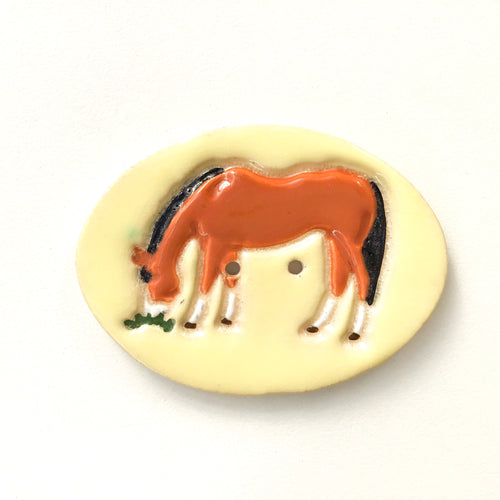 Large Ceramic Horse Button - Decorative Clay Horse Button - 2 1/8