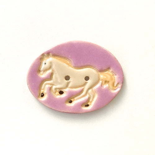 Large Ceramic Horse Button - Decorative Clay Horse Button - 1 3/4