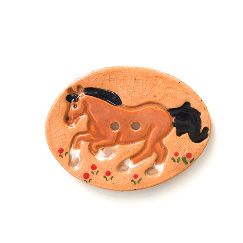 Large Ceramic Horse Button - Decorative Clay Horse Button - 1 3/8