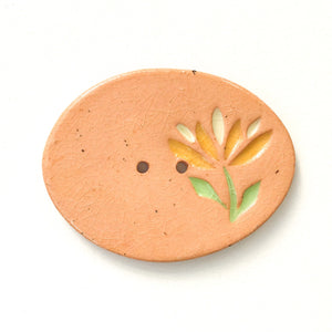 Cut Flower Buttons - Large Oval Ceramic Buttons
