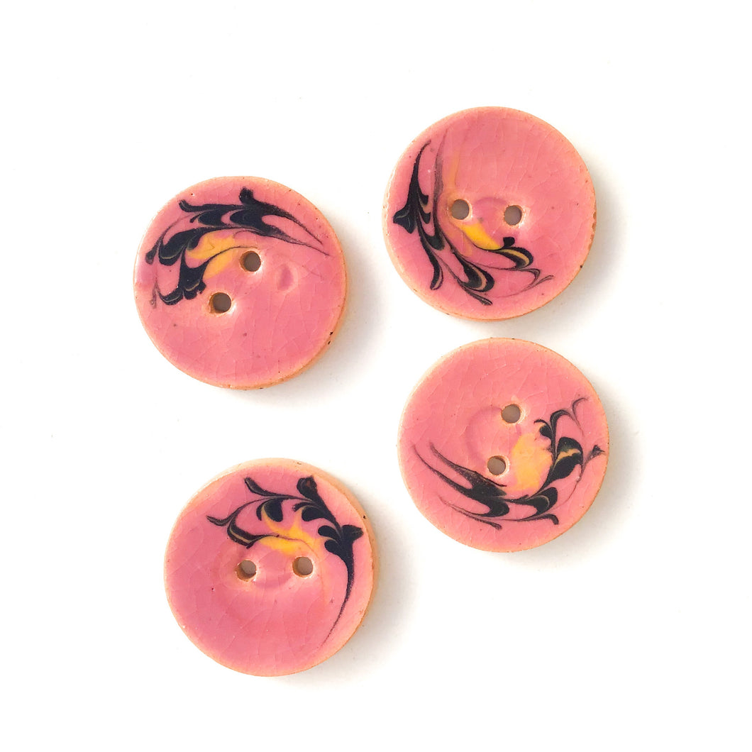 Dusty Pink Ceramic Buttons with Yellow & Black Design - 7/8