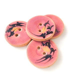 "Dusty Pink Ceramic Buttons with Yellow & Black Design - 7/8"" - 5 Pack"
