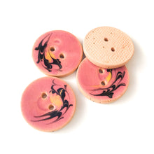 "Load image into Gallery viewer, Dusty Pink Ceramic Buttons with Yellow & Black Design - 7/8"" - 5 Pack"