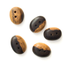 "Load image into Gallery viewer, Black Walnut Wood Buttons - Oval Black Walnut Sap & Heartwood Buttons - 3/4"" x 7/8"" - 5 Pack"