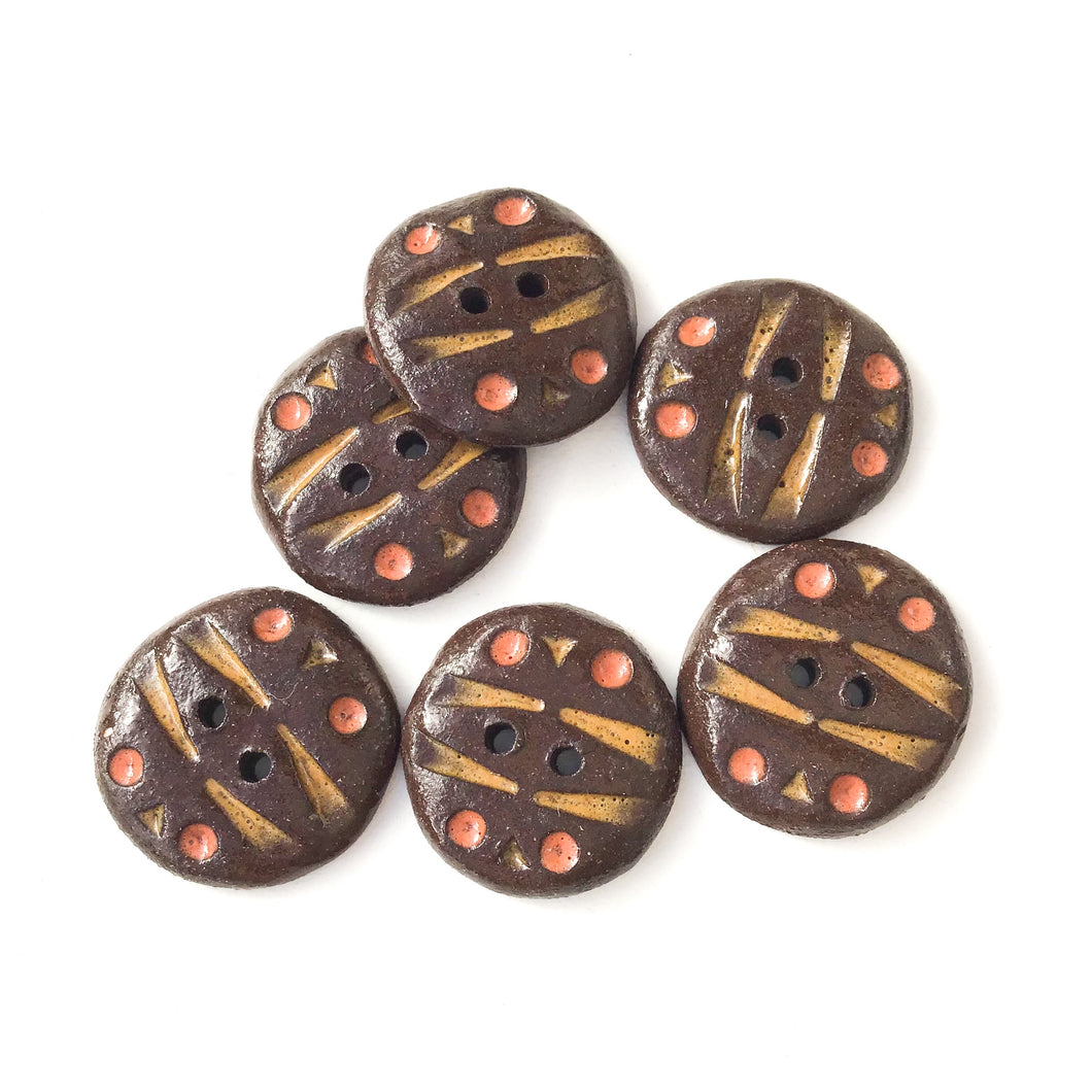 Black Clay Buttons with Earth Tones Detail -