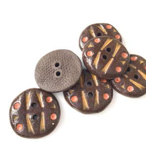 "Black Clay Buttons with Earth Tones Detail - ""Dance"" - 13/16"" - 6 Pack"