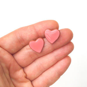 Ceramic Coral Heart-shaped Earrings - Pink Heart Stud Earrings