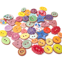 "Load image into Gallery viewer, DISCOUNTED**Mixed Lot (47 count) of Irregular Ceramic Buttons - Size Range - 3/8"" up to 1  1/16"""