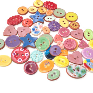"DISCOUNTED**Mixed Lot (47 count) of Irregular Ceramic Buttons - Size Range - 3/8"" up to 1  1/16"""