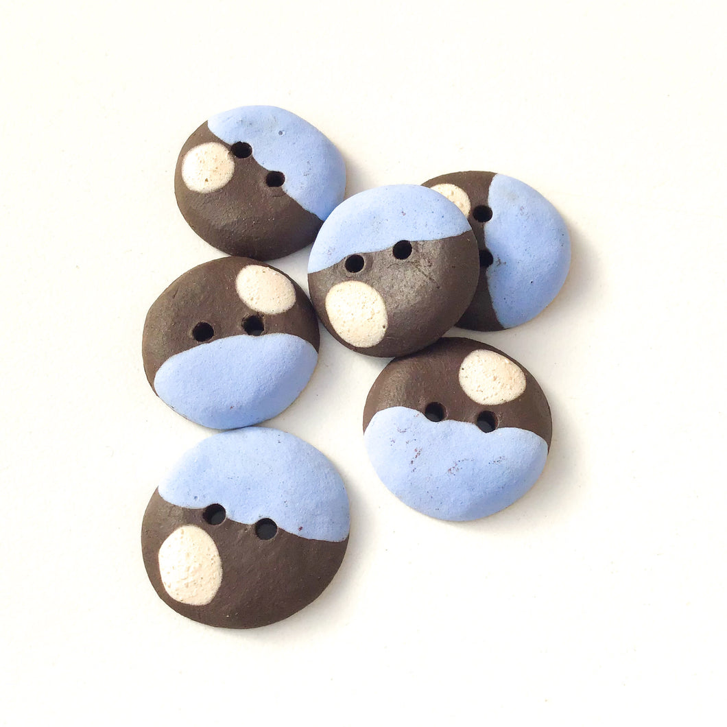 Sky Blue - Color Contrast Clay Buttons - Black Clay Ceramic Buttons - 3/4