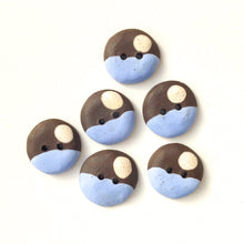 "Load image into Gallery viewer, Sky Blue - Color Contrast Clay Buttons - Black Clay Ceramic Buttons - 3/4"" - 6 Pack"