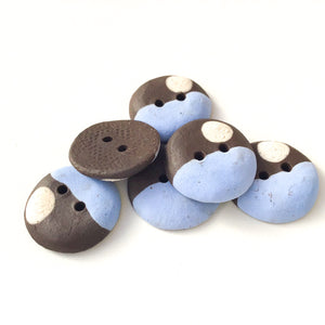 "Sky Blue - Color Contrast Clay Buttons - Black Clay Ceramic Buttons - 3/4"" - 6 Pack"