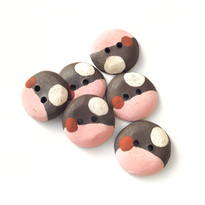 "Salmon Pink - Color Contrast Clay Buttons - Black Clay Ceramic Buttons - 3/4"" - 6 Pack"