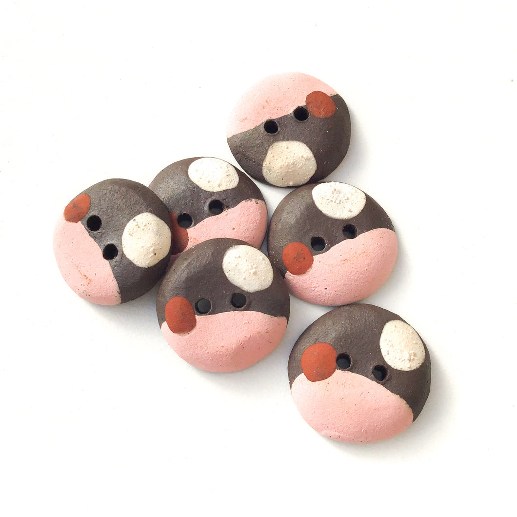 Salmon Pink - Color Contrast Clay Buttons - Black Clay Ceramic Buttons - 3/4