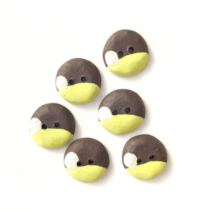 "Chartreuse - Color Contrast Clay Buttons - Black Clay Ceramic Buttons - 3/4"" - 6 Pack"