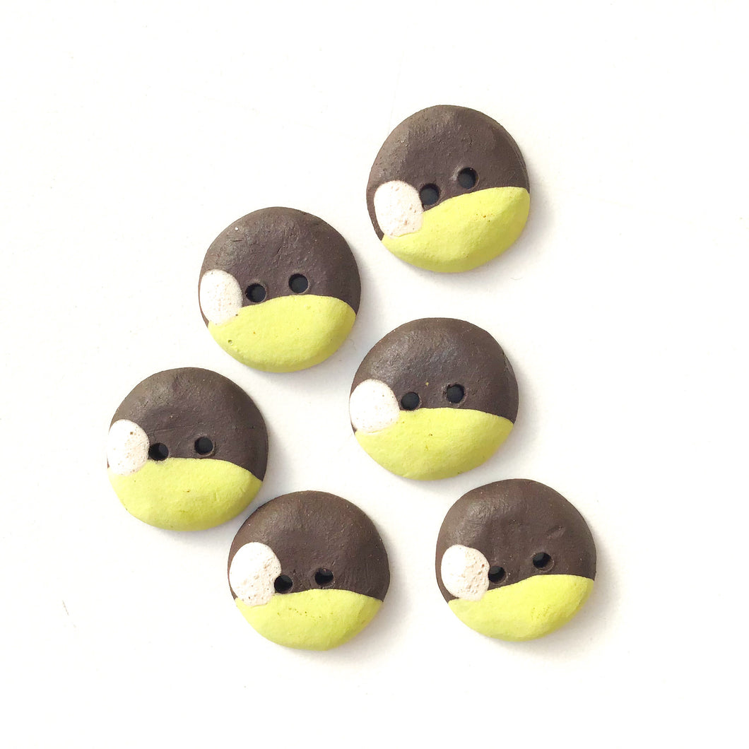 Chartreuse - Color Contrast Clay Buttons - Black Clay Ceramic Buttons - 3/4